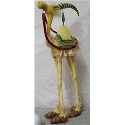 """Camel Figurine w/ Decorative Saddle & Cap - 17"""" Tall"""