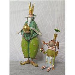 "King Figurine & Dog Ornament w/ Crown & Maker's Mark PB 10 - 6"" & 10"" Height"