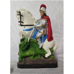 """Knight in Shining Armor on White Steed Ornament - 7"""" Tall"""
