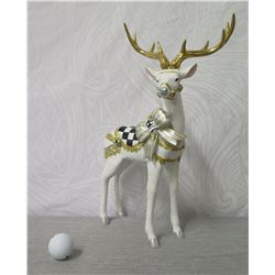 "MacKenzie Childs White Reindeer Figurine w/ Saddle & Antlers 17"" Height"