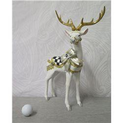 "MacKenzie Childs White Reindeer Figurine w/ Saddle & Antlers 17"" Tall"