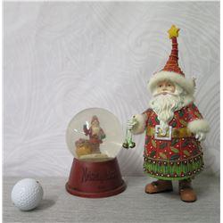 "Scandinavian 11"" Santa Figurine & Neiman Marcus 2013Snow Globe 6"" Height"