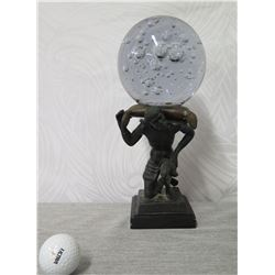 """Black Man on Square Base Statue w/ Removable Glass Ball 13"""" Height"""