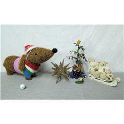 """Christmas Tree 15"""" Tall, Star Ornament, Sledding Bear Family & Dog Décor"""