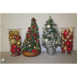 Qty 2 Decorated Artificial Christmas Trees & 2 Bins of Ornaments