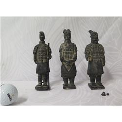 """Qty 3 Wise Men Carved Figurines on Base 7"""" Tall"""