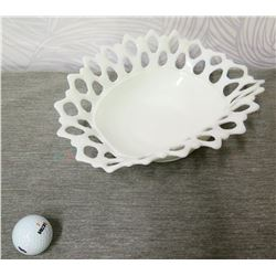 """White Porcelain Basket w/ Cut-Out Design & Scalloped Edges 4"""" Height"""