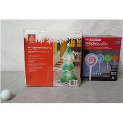 """Home Accents 84"""" Lighted Christmas Tree & Lightshow LED SynchroLights"""