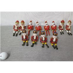 """Qty 12 Napkin Rings: Santa, Kings, Toy Soldiers w/ Hoops 5.5"""" Tall"""
