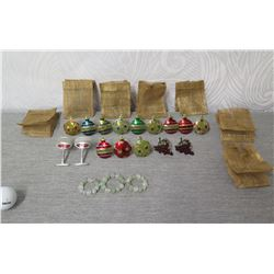 Qty 12 Ball Ornaments, 2 Grapes, 2 Wine Glasses, 3 Bead Napkin Rings & 7 Bags