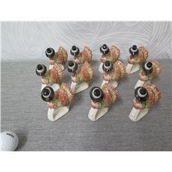 "Qty 11 Ceramic Turkey Thanksgiving Napkin Holders Signed BFY 1990 4"" Height"