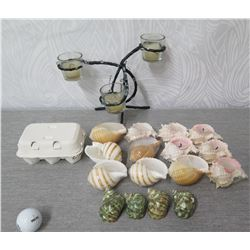 Qty 16 Misc Shell Candles, Metal 3 Votive Handle Holder & Egg Candles