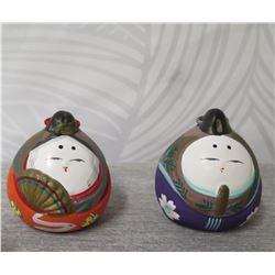 "Qty 2 Oriental Ornaments w/ Slit Bottom & Maker's Mark 2.5"" Height"