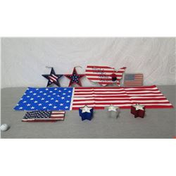 Qty 5 Red, White & Blue Star Ornaments, Patriotic USA Map, Flags, etc