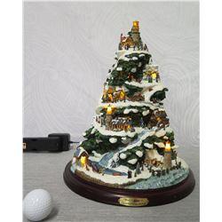 """Thomas Kinkade Christmas by the Harbor Illuminated Tree #B7399 - 13"""" Tall"""