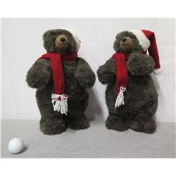 """Qty 2 Plush Brown Bears in Santa Caps & Scarves 14"""" Height"""
