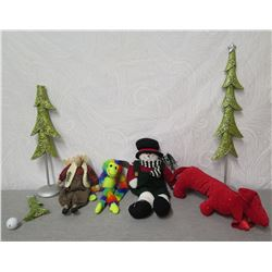 Misc Decorations: 2 Trees, Snowman, Reindeer, Sequin Red Dog & Monkey