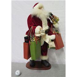 "Santa Figurine w/ Gift Bags & List on Base 26"" Tall"