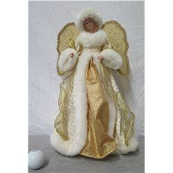 """Angel Figurine w/ Gold Wings & Fur Trimmed Dress 16"""" Tall"""