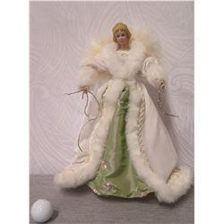 "Angel Figurine w/ White Wings & Fur Trimmed Dress 16"" Tall"