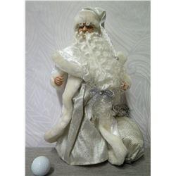"Santa Figurine w/ Silver Gift Bag & Fur Trimmed Coat 16"" Tall"