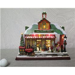 "Roman Christmas Musical LED Kris Kringle Depot, 12"" Height (Retail $351)"