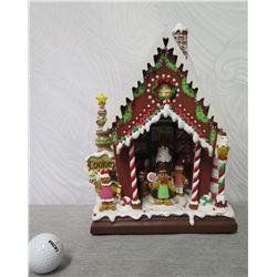 "Raz Imports CS Wo Musical LED Gingerbread House Figurine, 12"" Height"