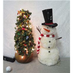 Artificial Illuminated Tree in Wood Bowl 'Mele's Mood' #9206 & Plush Snowman