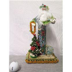 "Hawaiian Santa in Aloha Print Tube w/ Lei, Shells & Glass Float, 14"" Tall"