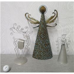 """Qty 2 Abstract Angel Cone Figurines & Metal Reindeer on Round Base 17"""" Height"""