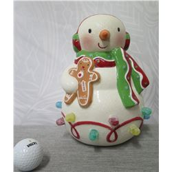 """Snowman Figurine w/ Gingerbread Man Illuminated Figurine 9"""" Tall"""