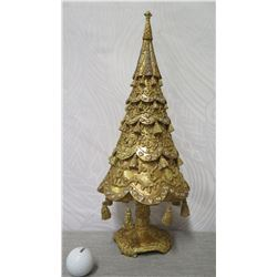 """Gold-Tone Christmas Tree w/ Hanging Ornaments, 18"""" Tall"""