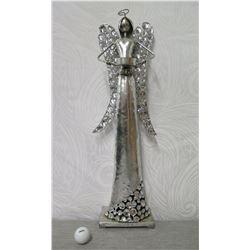 "Tall Metal Angel Figurine w/ Clear Stone Wings & Skirt on Base 26"" Tall"
