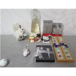 Misc Decorations: Peace Angel, Snowman, Holiday Lane Spiral Ornaments, etc