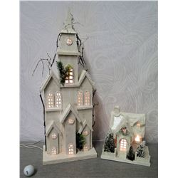 "Snowy Church & House Illuminated Displays 9"" & 25"" Tall"