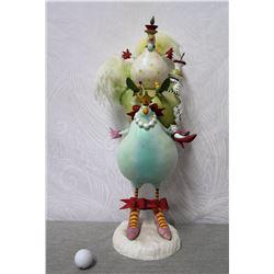 "Birds Riding Bird Figurine on Base 24"" Height"