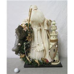 "Santa in White Coat w/ Lighthouse & Fishing Net 27"" Tall"