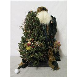 """Santa Figurine in Tree Leaves Signed Ione Adams 2005 - 27"""" Tall"""