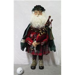 "MacKenzie-Childs Santa Figurine w/ Bagpipes 19"" Tall"