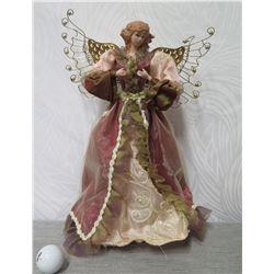 "Angel Figurine w/ Gold Metal Wings 22"" Tall"