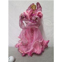 "Angel Figurine w/ Pink Wings & Dress 17"" Tall"