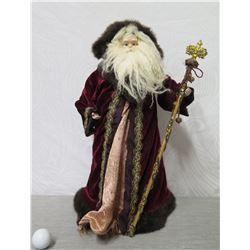 "Santa Figurine in Burgundy & Gold Cape w/ Royal Staff 22"" Tall"