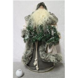 """Santa Figurine in Gray & White Cape w/ Fur Accents 18"""" Tall"""