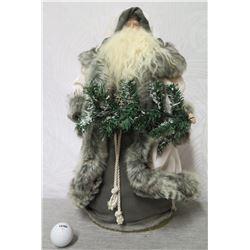 """Santa in Gray & White Cape w/ Fur Accents, 18"""" Tall"""