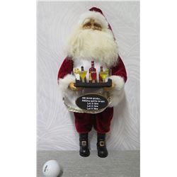 "Crakewood Collection by Karen Didion Santa w/ Drinks Figurine 18"" Tall"