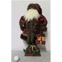 """Santa Figurine in Burgundy Coat w/ Presents on Base 21"""" Tall"""