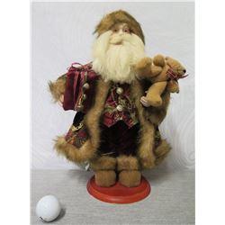 "Santa Figurine in Black Coat w/ Presents & Bear on Base 16"" Tall"