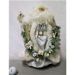 "Santa Figurine in Silver Coat w/ Wreath of Presents 17"" Tall"