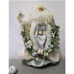 "Santa in Silver Coat w/ Wreath of Presents, 17"" Tall"