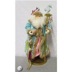 "Hawaiian Santa Figurine w/ Pearls, Shells & Seahorse Staff 25"" Tall"